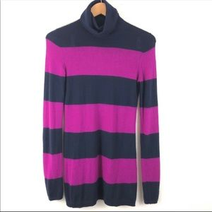 Theory Pink Cashmere Striped Turtleneck Sweater S